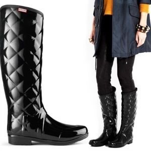 Quilted Hunter Rain Boots —size 7